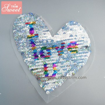 factory wholesale heart I love you letter sequin embroidery patterns
