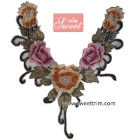 Hand work neck embroidery designs beaded neckline trims for garments