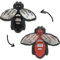 double side Bee sequin patch for kids clothes