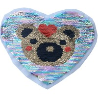 Factory custom made bear and heart motif 5mm paillette sequin embroidery decal