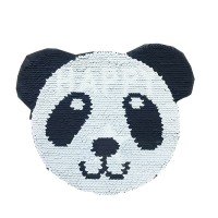 factory direct customize   discount reversible lady fashionable cute hot sequins black panda  embroidery accessory