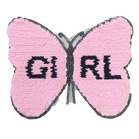 factory direct customize   discount reversible lady fashionable cute hot sequins pink butterfly embroidery accessory