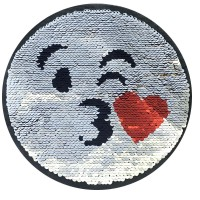 factory direct customize   discount reversible lady fashionable cute hot sequins round heart  embroidery accessory