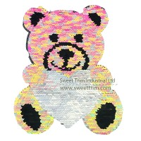 Sew on bear design sequin applique embroidered patch