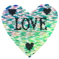 fashional heart shape reversible sequin transfer patch