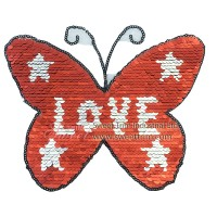customed cheap embroidery patch red butterfly double side sequin design