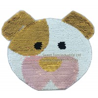 Cute Pig shape reversible sequins fashion patch iron on embroidery patch