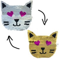 factory direct customize   discount reversible lady fashionable cute hot sequins  cat  embroidery accessory