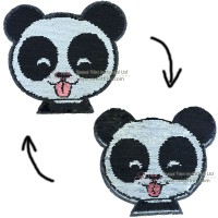 factory direct customize   discount reversible lady fashionable cute hot sequins  panda embroidery accessory